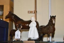 A large Beswick bay horse; Royal Doulton shetland pony and foal; Royal Doulton figure 'Bedtime' HN1978 (4)