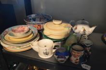 A quantity of ceramics, including two blue & white porcelain platters by E. Bourne & J.E. Leigh; a blue fruit bowl with metal rim; an Old Foley chintz dish; a small Royal Winton jardiniere & stand; toby jugs and other items