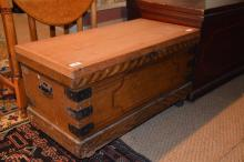 A Victorian chest / blanket box, the top a later replacement; together with an oak dropleaf table