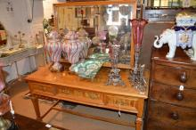 A late 19th century maple dressing table, the drawers fitted with locks by Hobbs & Co, 137cm wide, 157cm high, 69cm deep