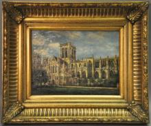 *L Ouren, York Minster, oil on canvas, 39 x 29cm, bought at Brights of Nettlebed