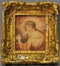 *Late 18th century English School, Countess Harrington as Juno, watercolour, in elaborate giltwood frame, 10 x 12cm