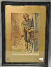 Martin, 'Listening for the Footsteps', Mexican gentlemen, watercolour, signed and dated 1911, 24cm x 37cm