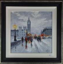 R.Trafford, Big Ben and Houses of Parliament from Westminster Bridge, acrylic on board, 49 x 49cm