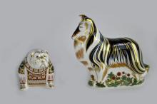 Two Royal Crown Derby paperweights with gold stoppers: 'Rough Collie', 14cm high, and Bulldog, 9cm high