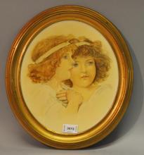 Watercolour portrait of two girls, 29cm x 25cm