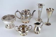 A weighted silver trumpet shaped vase, Birmingham 1910; silver-plated teapot, milk jug, sugar, rose bowl and goblet (6).