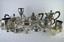 *A quantity of silver plated wares including teapots, entree dishes and cruets (Lot subject to VAT)