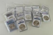 U.S.A, Silver 'Eagles', 2013 (2), 2014 (10), in plastic holders (slabs), mostly by N.G.C.; silver Britannia, 2014, in similar holder. Mint state. (13)