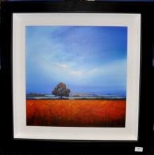 Signed Michael Geoffrey, 'Oak Tree Framed in Distinctive Blue Sky', acrylic on board, 72.5 x 72.5cm including frame
