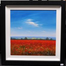 Signed Michael Geoffrey, 'Poppy Fields', acrylic on board, 84 x 84cm including frame