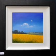 Signed Michael Geoffrey, 'Cornfield at Night', acrylic on board, 52.5 x 52.5cm including frame