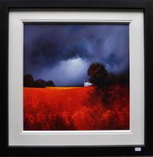 Signed Barry Hilton, depicting scarlet fields, a cottage and stormy grey clouds, original acrylic on board, 100 x 100cm