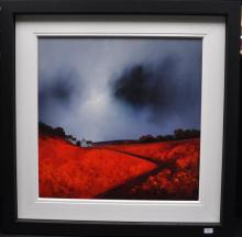 Signed Barry Hilton, depicting pathway through scarlet fields, cottages and stormy grey skies, original acrylic on board, 100 x 100cm