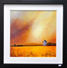 Signed Barry Hilton, depicting golden fields and golden sunrise, original acrylic on board, 100 x 100cm, with certificate of authenticity