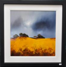 Signed Barry Hilton (born 1941), depicting golden fields and stormy skies, original acrylic on board, 100 x 100cm , with certificate of authenticity