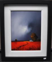 Signed Barry Hilton (born 1941), depicting scarlet fields, cottages and stormy skies, original acrylic on board, 90 x 75cm