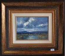 Signed Anton Binzon, depicting South African landscape and mountains, oil on board, 57 x 66cm including frame