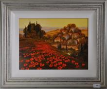Signed Stan Thomas, depicting Poppy fields with a hillside village, original acrylic on board, 39 x 49cm