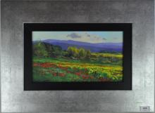 Indistinctly signed, depicting poppy fields in mountains landscape, acrylic on board, 40 x 54cm including frame