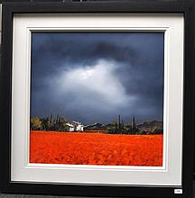 Signed Allan Morgan (born 1952), depicting scarlet fields and cottage among stormy skies, original acrylic on board, 100 x 100cm including frame