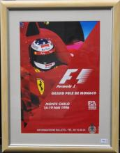 Framed Formula 1 poster, 'Monte Carlo', 16-19 May 1996