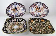 Two Royal Crown Derby lozenge shaped plate decorated in imari colours; a pair of crown Derby kidney shaped dishes (4)
