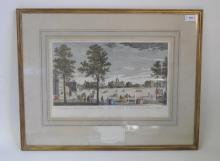 Seven late 18th century and later handcoloured engravings of London, including Bowles after 'Canaleti', St James Park, published by Laurie & Whittle in 1794; three by Wirsing, Nuremberg of The South East Prospect of Westminster, A View of Richmond Hill and A View of the Parade in St James's Park; Three by Heumann, Nuremberg of Greenwich Hospital, A View of Woolwich and A View of London Bridge, 41 x 27cm