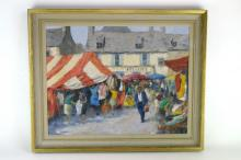 Ernest Knight, French Market at St. Poe de Leon, Brittany, oil on canvas, signed lower right, dated 1969 verso, 34 x 44cm