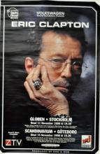 Eric Clapton - Stockholm 1988 concert poster with great image of Eric