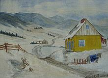 Thomas Beament Horse & Sleigh Outside Yellow Cabin
