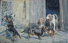 Charles de Penne Dogs in Courtyard