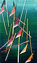 Waldemar Smolarek Abstract of Suspended Triangles on a Green Ground