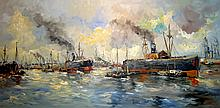 European School 20th Cent. Busy European Harbour Scene