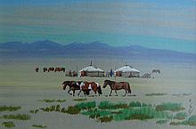 Mongolian School 20th Century Horses & Yurts on Plain