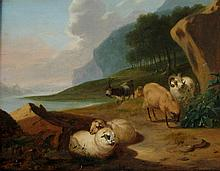 European School Landscape with Sheep and Goats