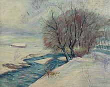 Adams Snowy River Landscape/Floral Still Life