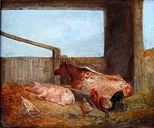British School 19th Century Barn Interior with Farm Animals