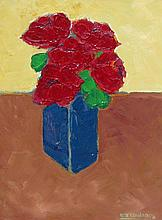 David J. Edwards Roses in a Blue Vase