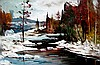 Geza/Gordon Marich Cabin in Winter River Landscape
