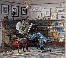Canadian School 19th/20th Cent. Gentleman Smoking a Pipe in a Library