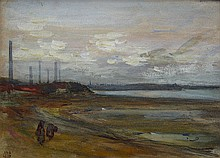 British School 19th/20th Century Figures on Beach near Industrial Town