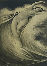 W. Chapman Nude Woman Lying in Water