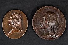 Indian Head Medallions (2), by Charles M. Russell (1852-1916)