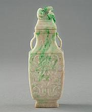 A JADEITE CARVING OF VASE AND COVER