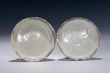 A PAIR CARVED QINGBAI DISHES