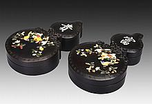 A PAIR OF JADE-STONE INLAID DOUBLE-GOURD WOOD BOX AND COVERS