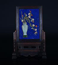 A JADE AND LAPIS LAZULI INLAID TABLE SCREEN