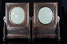 A PAIR OF WHITE JADE INLAID WOOD SCREENS