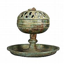 A BRONZE CENSER AND COVER